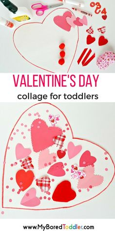 Valentine's Day Collage for Toddler's A fun fine motor invitation to create for toddlers. Love hearts and pink and red!