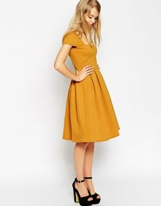 Enlarge ASOS TALL Debutante Full Midi Dress In Texture