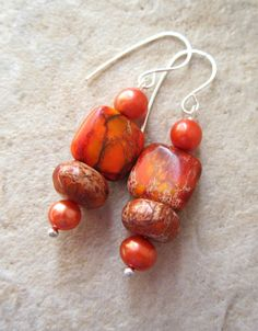 Orange Jasper Earrigs with Freshwater Pearls  by LeanneDesigns, $10.00 Shop Sale, Fresh Water, Jasper, Pearls, Orange, Trending Outfits, Unique Jewelry, Handmade Gifts, Etsy