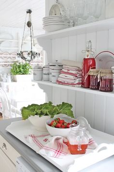 love red and white dishes and linens...happy!