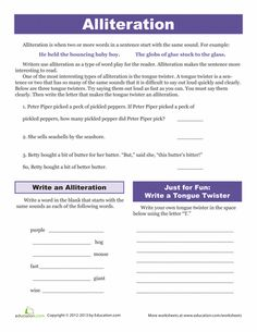 Printables Alliteration Worksheets worksheets and alliteration on pinterest tongue twisters