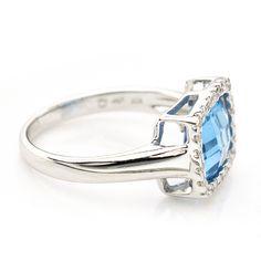 18K White Gold Blue Topaz & .25 CTTW Diamond Ring $500 #Topaz #Diamond #Ring