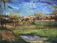 """Prof. Max Schwimmer (1895 - 1960) - Öl auf Leinwand, """"Sommerliche Landschaft mit kleinem Tümpel"""""""