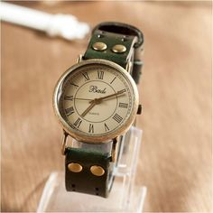 Green leather retro women's watches, perforated strap OSX8002G - $13.90 | odonatum - Accessories on ArtFire :)