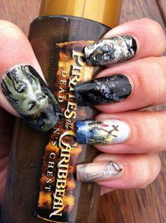 Pirates of the Caribbean Davy Jones nail art2 by ~amanda04