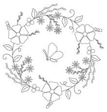 Spring Wreath Embroidery Pattern $0.90
