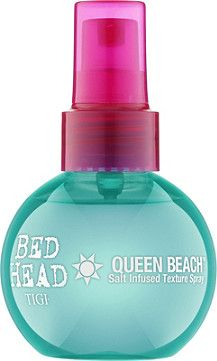 Tigi Bed Head Queen Beach Salt Infused Texture Spray is a fast drying texturizing spray that creates beachy texture on wet or dry hair.