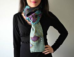 Hand Painted Silk Scarf. A one of a kind accessory made just for you! Material: 100% Silk Dimensions: 170x50 cm Every hand painted item is unique. Therefore, no two are exactly alike and many pieces exhibit handmade imperfections that should be considered a sign of authenticity and