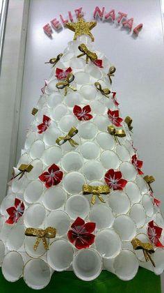 Recycled Christmas Tree, Unique Christmas Trees, Christmas Tree Crafts, Christmas Wreaths, Christmas Ornaments, Xmas Tree, Outside Christmas Decorations, Handmade Christmas Decorations, Traditional Christmas Tree