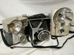 Lot of 3 Vintage Cameras Tower Folding Brownie Starflash Starmite $18.00