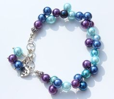 Blue and Purple  Pretty Bracelet  Blue Pearl by PinkBeading, £10.00