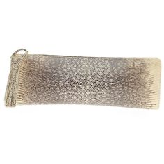 Nancy Gonzalez Pre-Owned Nancy Gonzalez Clutch Lizard Long (565 CAD) ❤ liked on Polyvore featuring bags, handbags, clutches, cream, brown handbags, colorful clutches, zipper purse and fringe handbags