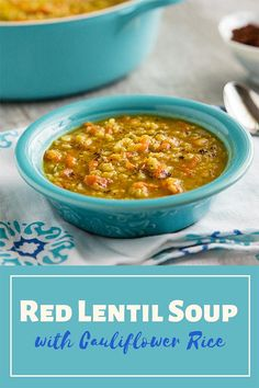 richly spiced but not spicy red lentil soup is made thicker and heartier by the addition of cauliflower rice. Zero points on Weight Watchers program. Gluten-free and no added oil. Vegetarian Soup, Vegan Soups, Vegetarian Recipes Dinner, Vegan Dinners, Vegan Recipes Easy, Whole Food Recipes, Delicious Recipes, Green Lentil Salad, Red Lentil Soup