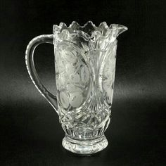 Lead Crystal Glass Pitcher Cherries Plums Vtg
