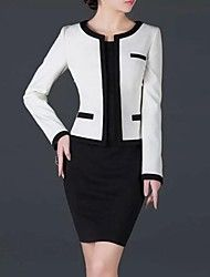 Women's Patchwork Multi-color Dress , Bodycon Round Neck Long Sleeve