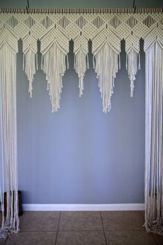 This extra large macrame arch is made from 1,500 of 5mm natural white cotton rope and hangs from a 6 wooden dowel. Measures approx. 8 long. A unique piece that is perfect for your bohemian wedding! Will also look amazing in your home as a wall hanging, curtain, door frame or headboard! You may choose for the wooden dowel to be left natural, or stained a deep walnut color as shown.  Please note: this piece will be made to order and may vary slightly from the photos. Please allow 3-4 weeks for…