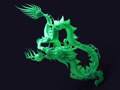 Green Jade Dragon Tea Imperial Stone Carving