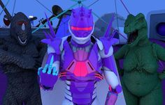 Ok this is the last edit of this one. I'm not too keen on warm colors and ended up reverting to a more blue/purple color scheme. I also moved the characters even closer and touched up some details on the rhino a bit. Previous patch notes: V2: I decided to pull together the composition a bit and tone the lighting down slightly so it's not so washed out. I still might do a third render with ambient occlusion turned on if I feel like waiting forever. V1 Been feeling inspired by @sirblackmoore…