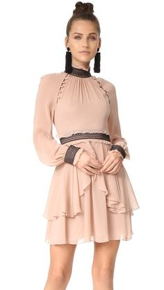 Nicholas Silk Georgette High Neck Mini Dress