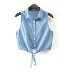 SheIn(sheinside) Blue Sleeveless Buttons Front Self-tie Bow Denim... (€15) ❤ liked on Polyvore featuring tops, blouses, blue, sleeveless blouse, blue blouse, collar blouse, denim top and sleeve blouse