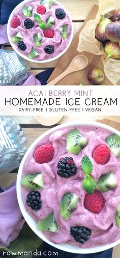 Acai Berry Mint Ice Cream - {Dairy-Free, Vegan} Crisp and refreshing mixed berry ice cream with a hint of cool mint!
