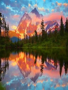 Washington's Mount Shuksan lies 11.6 miles south of the Canadian Border. A glaciated complex peak that has four major faces and five ridges to climb. Mount Shuksan is one of the most photographed mountains in the world due to its sheer beauty.