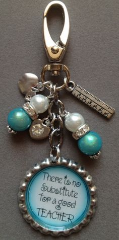 TURQOUSIE TEACHER bottle cap purse charm bag by KeyChainBling, $16.00