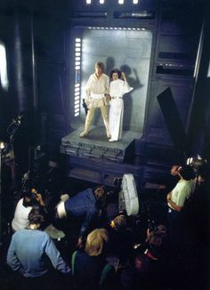 "[Luke and Leia are about to swing over the chasm - Leia gives Luke a kiss]   Princess Leia: ""For luck.""  (Behind the scenes, Star Wars, Episode IV)"