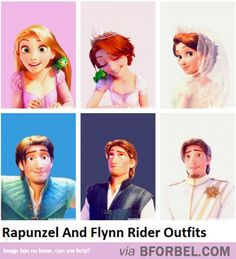 3 Rapunzel And Flynn Rider Outfits  <3<3<3. Why didn't I notice the difference between the first 2 Flynn outfits?
