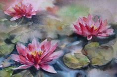 Pink Waterlilies Painting Original Watercolor Painting Watercolour Art  One of a Kind Watercolour Art  Scale: 11x15 (28x38 cm) Medium: top branded