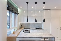 Privatus gyvenamasis  Nr. 72  2015 - interjeras.lt Interior Design Kitchen, Interior Ideas, Roman Curtains, Furniture Design, Studio, Table, Home Decor, Roman Blinds, Roman Shades