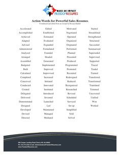 Action Words For Resumes Custom Great Action Words Verbs For Your Resume Design  Resumes .