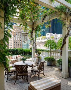 ny times rooftop garden and pergola /like the pots with trees and foilage on the bottom of it nest to the railing