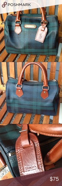 """Vintage Polo Ralph Lauren handbag Green plaid with leather trim. Good vintage used condition. There are some interior marks. About 10"""" wide, 8"""" tall, and 6"""" deep at bottom. Polo By Ralph Lauren Bags"""