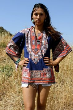 Large Authentic 70s Vintage Bohemian Gypsy Dashiki Tunic by Vdingy