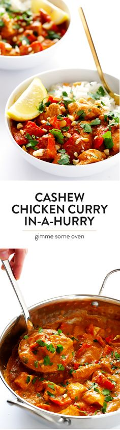 Cashew Chicken Curry (In A Hurry!) -- if you're craving Indian food, this delicious meal can be ready to go in less than 30 minutes! Cashew Chicken, Chicken Curry, Healthy Chicken, Indian Food Recipes, Asian Recipes, Healthy Recipes, Healthy Meals, Curry In A Hurry, International Recipes