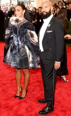 Solange in Giles Deacon with Alan Ferguson attend the Met Ball