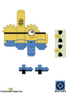 Blog Paper Toy papertoys Minions Little Plastic Man Stuart template preview Papertoys Minions (x 2)