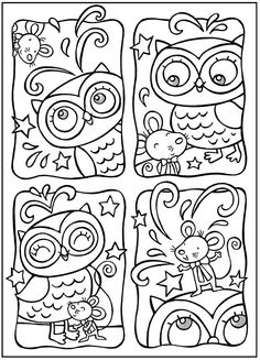 Owl and mouse line drawing Owl Coloring Pages, Printable Coloring Pages, Coloring Pages For Kids, Coloring Sheets, Coloring Books, Doodle Coloring, Kids Coloring, Dover Publications, Owl Crafts