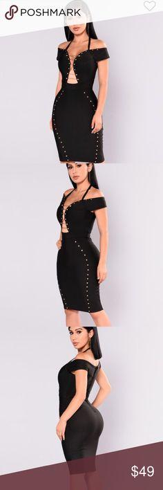 💃🏻Black Bandage Dress Small NWOT 90% Polyester 10% Spandex Bandage Off Shoulder Midi Length Dress 90% Polyester 10% Spandex Dresses Midi