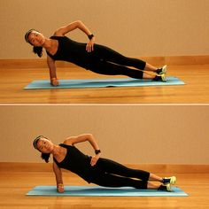 Side Plank Hip Dips (Right Side)  Repeat this pulsing move for 20 seconds, then rest for 10 seconds.