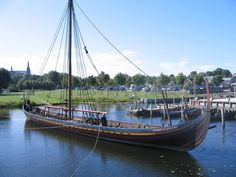 images of viking ships | Viking ship replica Skuldelev 2 in Roskilde museum harbour