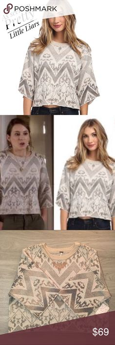 Free People Superstar Sweater in Ivory Comb Free People Superstar Sweater in Ivory Comb. Cropped with Zig Zag pattern. New with Tags. As seen on Pretty Little Liars. Excellent condition. Smoke & Pet Free Home. Free People Sweaters Crew & Scoop Necks