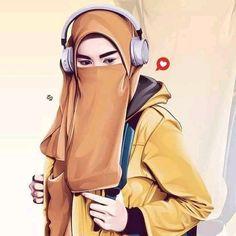 Hijabi Girl, Girl Hijab, Niqab Fashion, Muslim Fashion, Muslim Girls, Muslim Women, Caricature, Hijab Drawing, Islamic Cartoon
