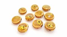 Yellow and Brown Spotted Ceramic Coin Beads!!  14mm in Size.  10 Beads.  Gorgeous Coloring!!  Very Pretty and Unique!! by FunkyCreativeJuices on Etsy