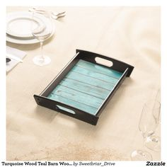 Turquoise Wood Teal Barn Wood Weathered Beach Serving Tray