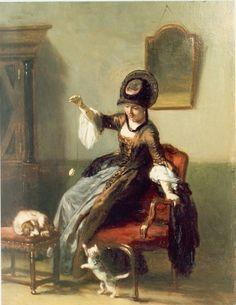 David Joseph Bles (Den Haag 1821-1899) Speeluurtje - Kunsthandel Simonis en Buunk, Ede (Nederland).