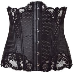 LA PERLA BY J.P.GAULTIER Black Leather Corset Belt With Lace Trim (5.220 BRL) ❤ liked on Polyvore featuring corsets, belts, lingerie, accessories and tops