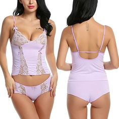 Avidlove Sexy Cami Lingerie Halter Stretch Babydoll Mini Sleepwear Lace Dress Purple Small * BEST VALUE BUY on Amazon #BabydollDress
