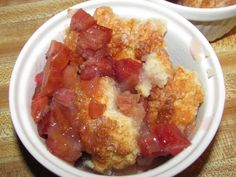 My husband requested this Rhubarb Cobbler and I was pleasantly surprised! It tasted like a sweet/tart, gooey/rich cherry like cobbler! Rhubarb Desserts, Rhubarb Recipes, Summer Desserts, Fun Desserts, Rhubarb Cobbler, Cobbler Topping, Best Dessert Recipes, Cake Recipes, Drop Biscuits